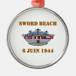 Sword Beach 1944 Silver-Colored Round Decoration
