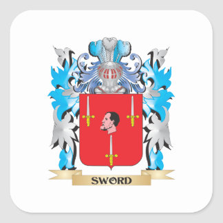 Sword Coat of Arms - Family Crest Square Sticker