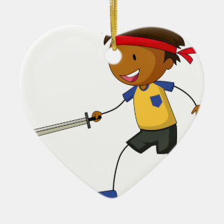 Sword fight ceramic heart decoration