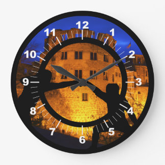 Sword Fighting by Castle Large Clock