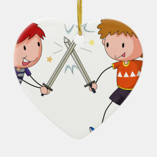 Sword fighting ceramic heart decoration