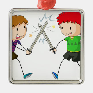 Sword fighting square metal christmas ornament