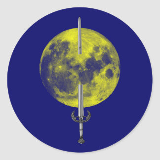Sword moon sword moon round sticker