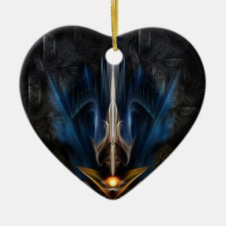 Sword OF Light Fractal Art Ceramic Heart Decoration