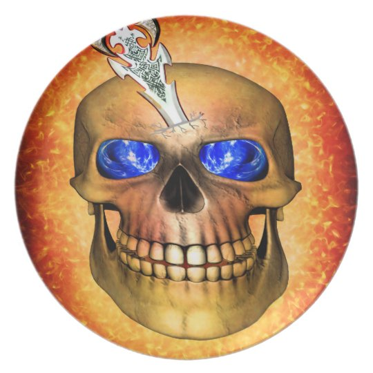 Sword pierced skull plate