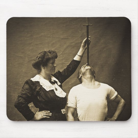 Sword Swallower and  Wife Vintage Sideshow Freaks Mouse Mat