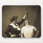 Sword Swallower and  Wife Vintage Sideshow Freaks Mousepads