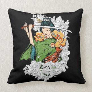 Sword Wielding Geisha Pillow