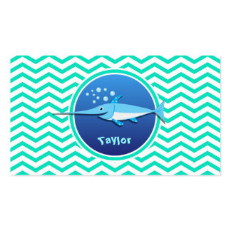 Swordfish; Aqua Green Chevron Double-Sided Standard Business Cards (Pack Of 100)