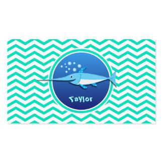 Swordfish Aqua Green Chevron Business Cards