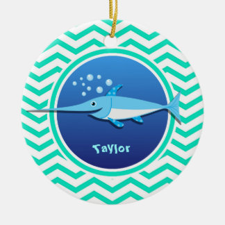 Swordfish; Aqua Green Chevron Double-Sided Ceramic Round Christmas Ornament