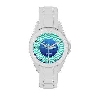 Swordfish; Aqua Green Chevron Wristwatch