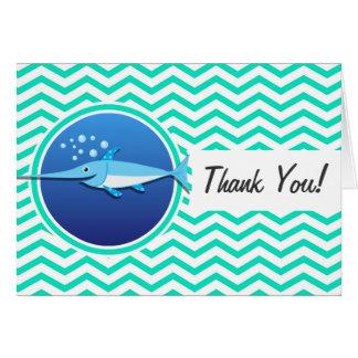 Swordfish; Aqua Green Chevron Note Card