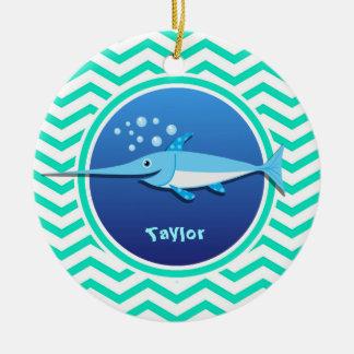 Swordfish; Aqua Green Chevron Round Ceramic Decoration