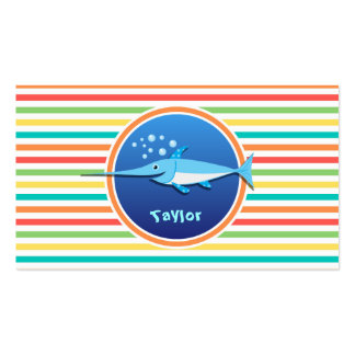 Swordfish; Bright Rainbow Stripes Double-Sided Standard Business Cards (Pack Of 100)