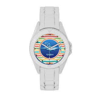 Swordfish; Bright Rainbow Stripes Watches