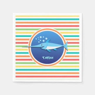 Swordfish; Bright Rainbow Stripes Paper Napkin