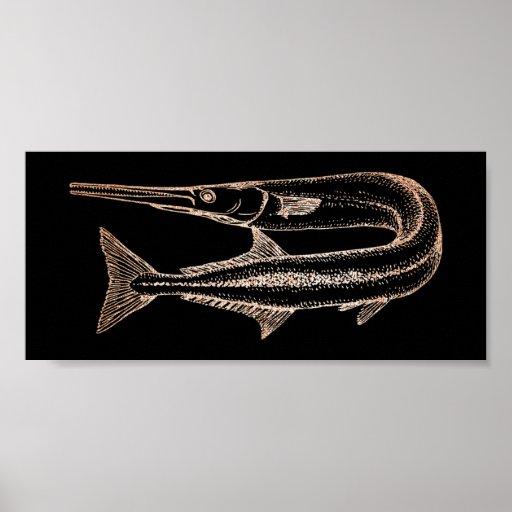 Swordfish Ocean Life Water Animials Black Poster