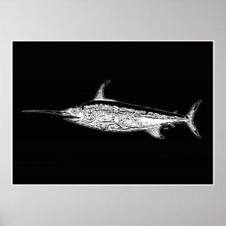 Swordfish on Black Pop Art Poster