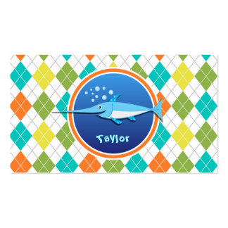 Swordfish on Colorful Argyle Pattern Double-Sided Standard Business Cards (Pack Of 100)