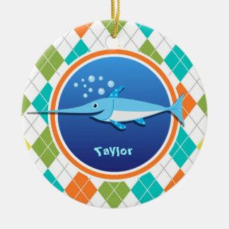 Swordfish on Colorful Argyle Pattern Double-Sided Ceramic Round Christmas Ornament