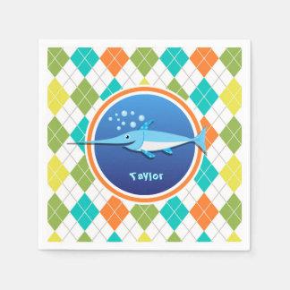 Swordfish on Colorful Argyle Pattern Disposable Serviettes