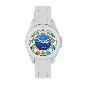 Swordfish on Colorful Argyle Pattern Wrist Watch