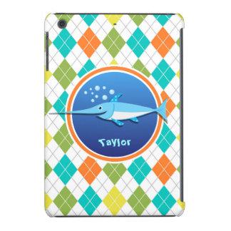 Swordfish on Colorful Argyle Pattern iPad Mini Retina Cases