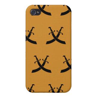 Swords Black Orange Cases For iPhone 4