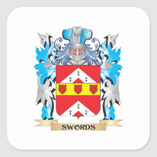 Swords Coat of Arms - Family Crest Square Stickers