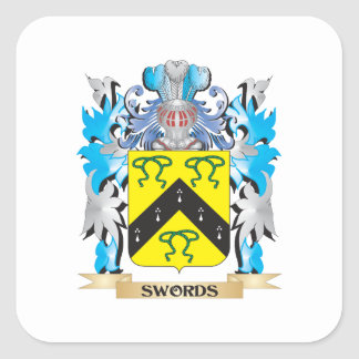 Swords Coat of Arms - Family Crest Square Sticker