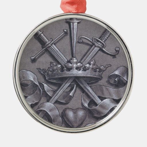 Swords Crown and Heart Christmas Tree Ornaments