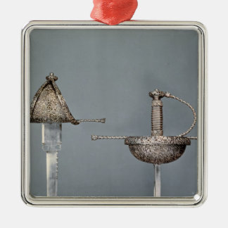 Swords: cup-hilted rapier of chiselled steel christmas ornament