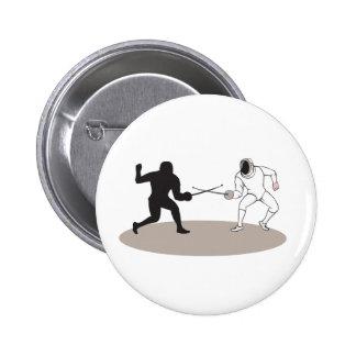 Swordsmen Fencing Isolated Cartoon 6 Cm Round Badge