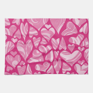 Swrily Pink Hearts Towels