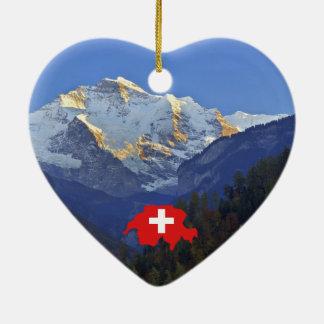 Swtzerland Jungfrau and flag Ceramic Heart Decoration