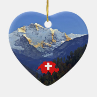 Swtzerland Jungfrau and flag Ceramic Heart Decoration