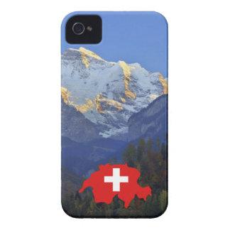 Swtzerland Jungfrau and flag iPhone 4 Case-Mate Case