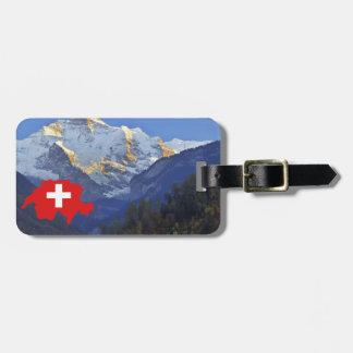 Swtzerland Jungfrau and flag Luggage Tag