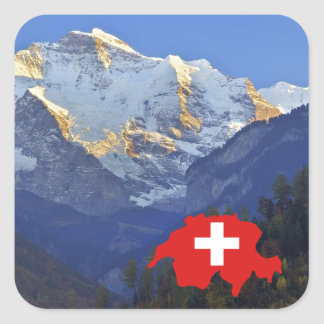 Swtzerland Jungfrau and flag Square Sticker