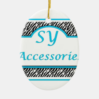 SY Acessories Logo Double-Sided Oval Ceramic Christmas Ornament