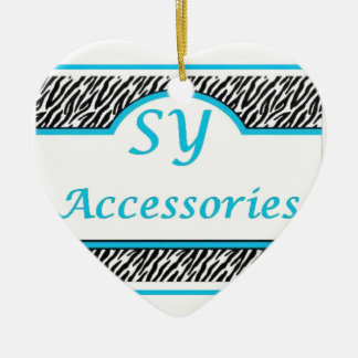 SY Acessories Logo Double-Sided Heart Ceramic Christmas Ornament