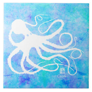 Sybille's Octo On Lt Blue L - Large Ceramic Tile