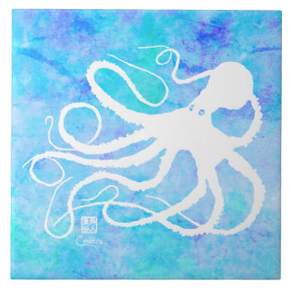 Sybille's Octo On Lt Blue R - Large Ceramic Tile