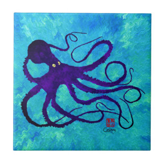 Sybille's Octopus L - Small Ceramic Tile