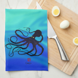 Sybille's Octopus On Blue Green - Kitchen Towel