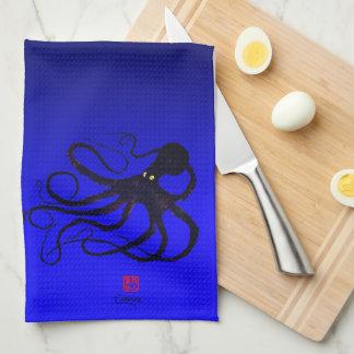 Sybille's Octopus On Blue - Kitchen Towel