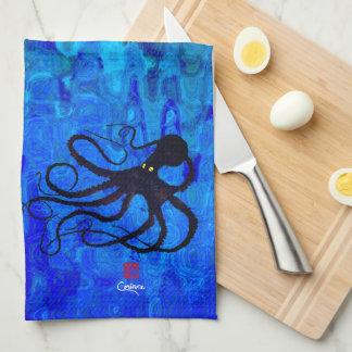 Sybille's Octopus On Blue Waves - Kitchen Towel