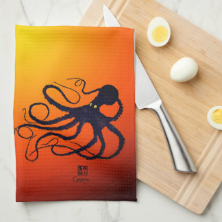 Sybille's Octopus On Ombre - Kitchen Towel
