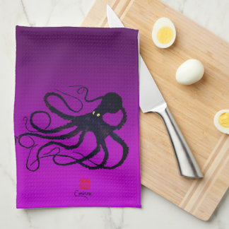 Sybille's Octopus On Purple - Kitchen Towel